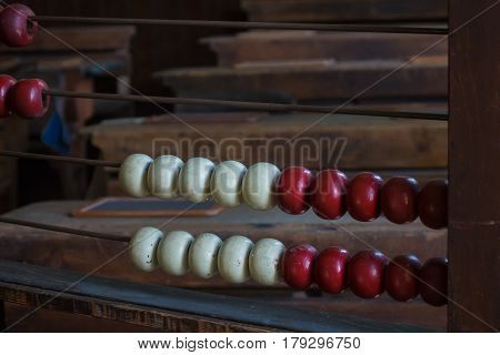 The Old And Ancient Abacus In A School
