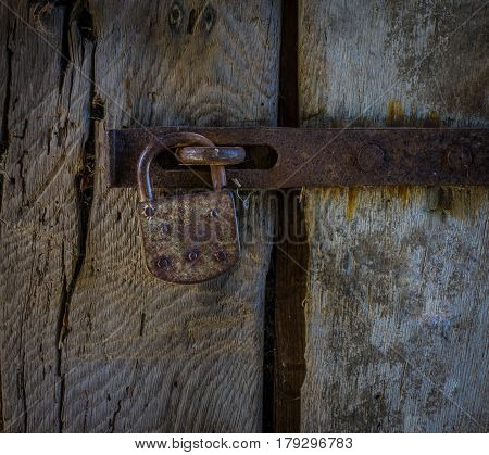 The Lock On An Old Wooden Door