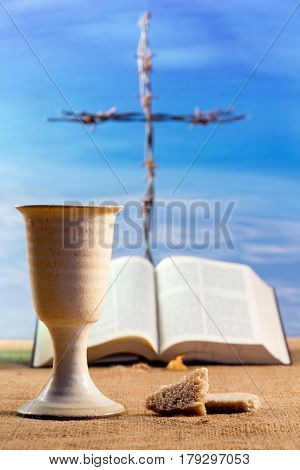 Chalice Of Wine With Bread And Crucifix