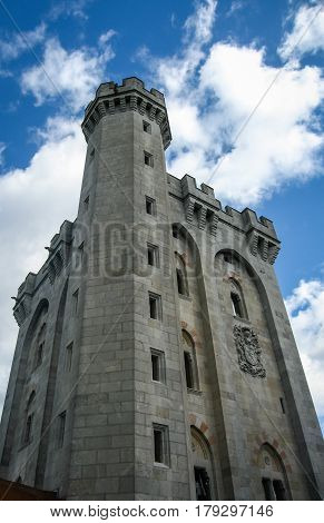 Tower of medieval Buitron castle, Basks country, Spain