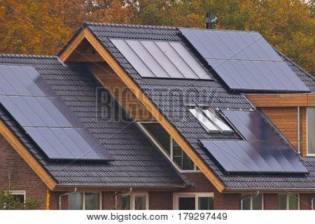 Solar panels on newly build modern house