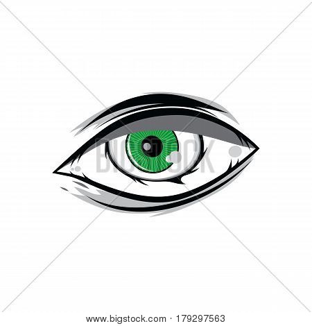 Cartoon Angry Green Horus God Eyes For Comics Design Vector Art