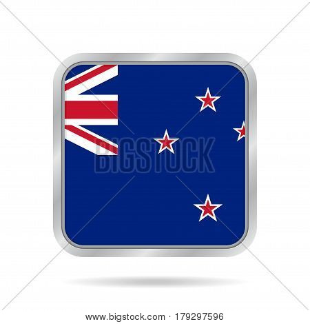 National flag of New Zealand. Shiny metallic gray square button with shadow.