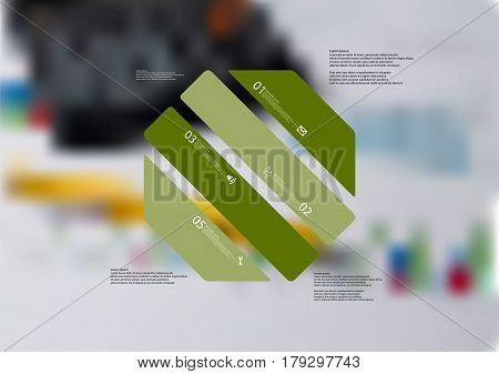 Illustration infographic template with motif of octagon askew divided to four standalone green sections. Blurred photo with financial motif with charts and calculator is used as background.