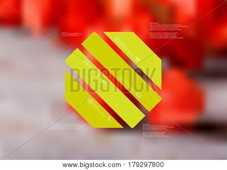 Illustration infographic template with motif of octagon askew divided to four standalone green sections. Blurred photo with natural motif with red blooms is used as background.