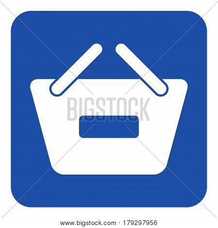 blue rounded square information road sign with white shopping basket minus remove icon