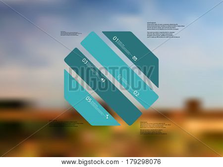 Illustration infographic template with motif of octagon askew divided to four standalone green sections. Blurred photo with natural motif landscape with cloudy sky is used as background.