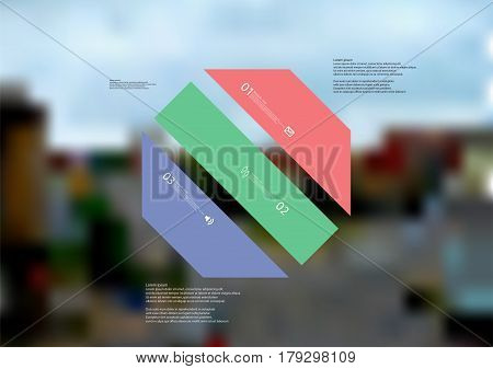 Illustration infographic template with motif of octagon askew divided to three standalone color sections. Blurred photo with city motif with crossroad of streets is used as background.