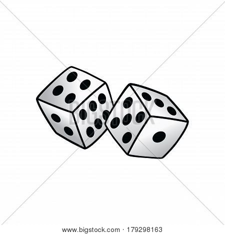 White Dice Risk Taker Gamble Vector Art