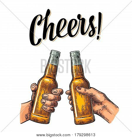 Female and male hands holding and clinking open beer bottles. Cheers toast lettering. Vintage vector color engraving illustration for web, poster, invitation to party. Isolated on white background.