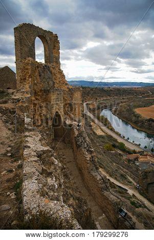 Landscape with ruins of medieval castle Alcacaba of Zorita, Guadalajara, Castilla la Mancha, Spain