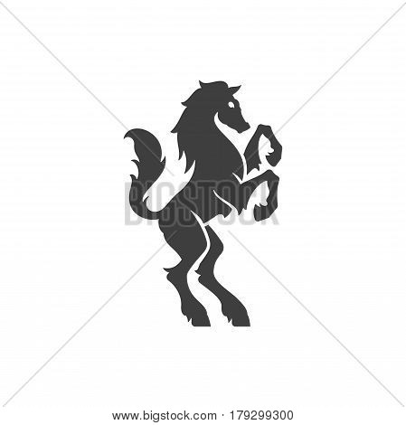 Heraldic horse Isolated on white background vector icon in retro style. Can be used for crest logo or heraldic badge.