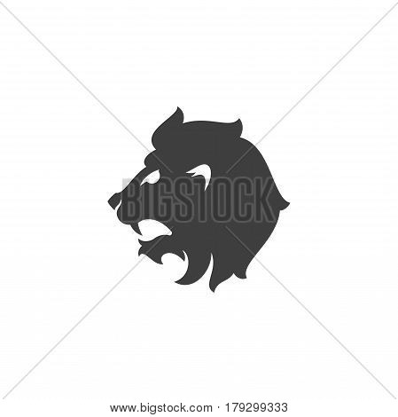 Heraldic lion head Isolated on white background vector icon in retro style. Can be used for crest logo or heraldic badge.