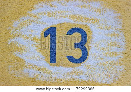 House Number Thirteen in Detail as Background