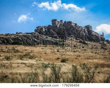Landscape with medieval Mora castle, Castilla la Mancha, Spain