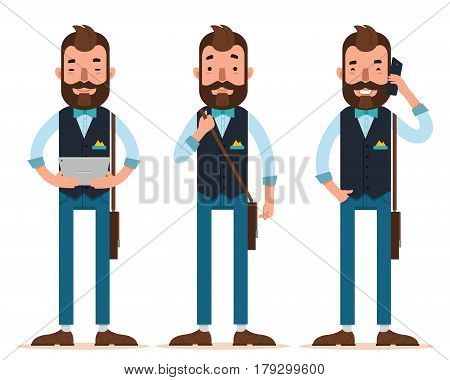 Businessman characters. Three different poses. Man stands with digital tablet, man stands with leather bag, man calls on phone. Vector