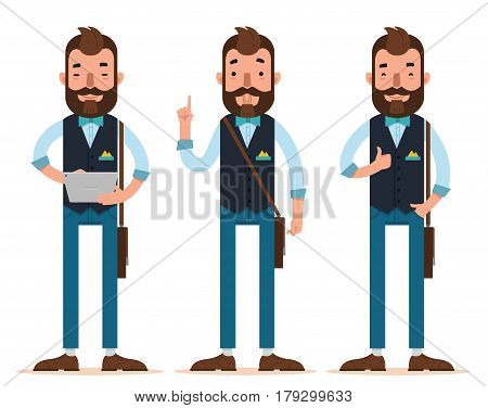 Businessman characters. Three different poses. Man stands with digital tablet, man holding index finger up, man shows sign okay. Vector