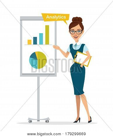 Woman with tablet stands near flipchart. Woman show chart, diagram. Analytics. Business character. Vector illustration
