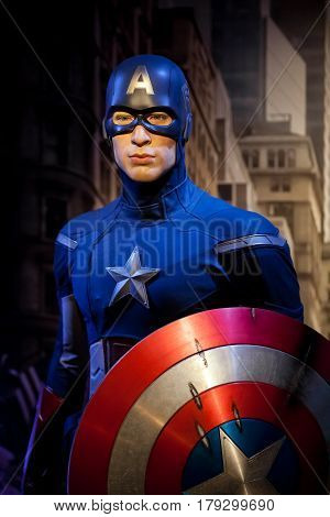 Amsterdam, Netherlands - March, 2017: Wax figure of Chris Evans as Captain America in Madame Tussauds Wax museum in Amsterdam, Netherlands