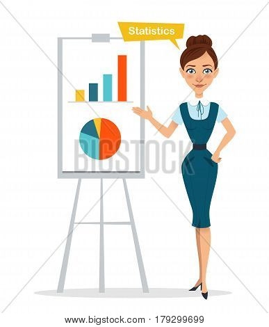 Woman stands near flipchart with chart, diagram. Statistics. Business character. Vector illustration