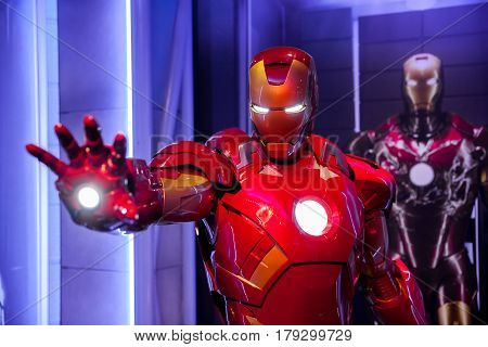 Amsterdam, Netherlands - March, 2017: Wax figure of Tony Stark the Iron Man from Marvel comics in Madame Tussauds Wax museum in Amsterdam, Netherlands