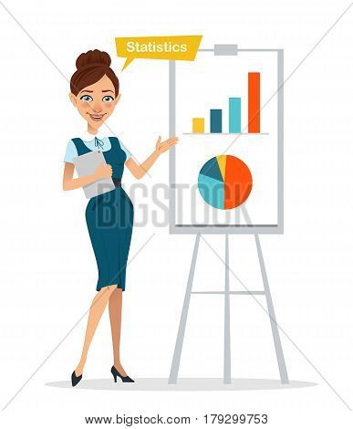 Woman with digital tablet standing near flipchart . Woman pointed to chart and diagram. Statistics. Business character. Vector illustration