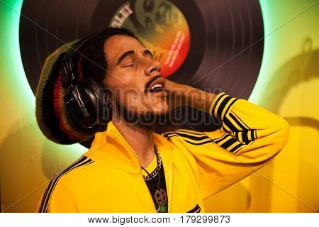 Amsterdam, Netherlands - March, 2017: Wax figure of Bob Marley singer in Madame Tussauds Wax museum in Amsterdam, Netherlands
