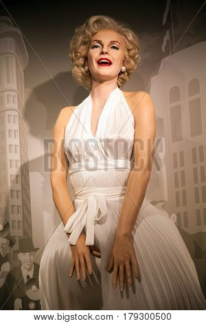 Amsterdam, Netherlands - March, 2017: Wax figure of Marilyn Monroe, american actress and model in Madame Tussauds Wax museum in Amsterdam, Netherlands
