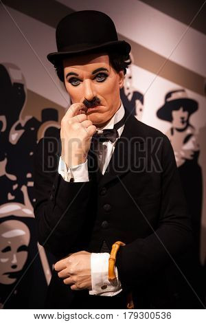 Amsterdam, Netherlands - March, 2017: Wax figure of Sir Charles Spencer Charlie Chaplin, English comic actor in Madame Tussauds Wax museum in Amsterdam, Netherlands