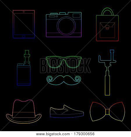 Set of simple color hipster accessory line art icons on black background vector illustration