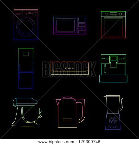 Set of simple color appliances lineart icons on black background vector illustration