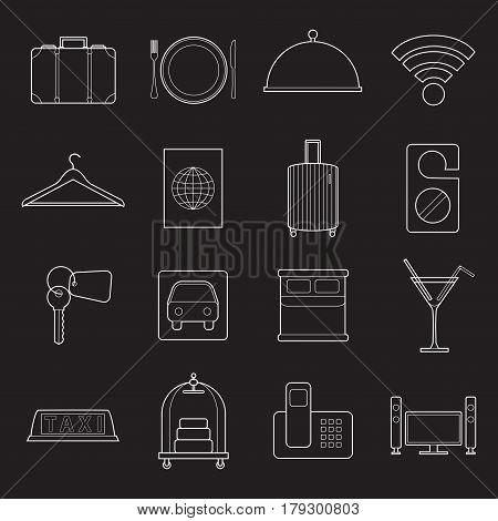 Set os simple modern hotel symbols line art  icons on white background vector illustration