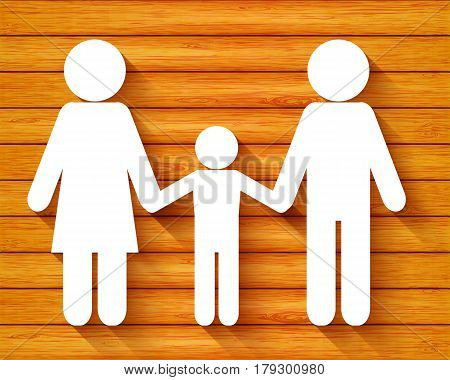 Paper cut family on wood background vector