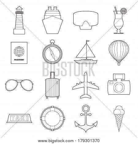 Set of modern travel symbols line art  icons  on white background vector illustration