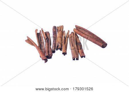 Cinnamon Sticks Isolated On White Background. Kulit Kayu Manis.