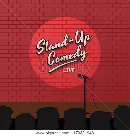Red Brick Stand Up Comedy Cartoon Theme Vector Illustration