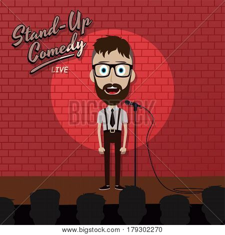 Adult Male Stand Up Comedian Cartoon Character On Red Brick Stage With Spotlight