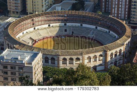 Aerial view at Malaga with Bullring of La Malagueta. Plaza de Toros de Ronda bullring in Malaga Spain