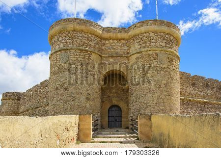 Frant Gate of a medieval the Castle in Chinchilla, Spain.