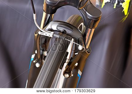 Detail Of Caliper Brakes With Track Shoe