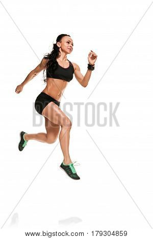 caucasian woman runner running jogger jogging in studio isolated on white background
