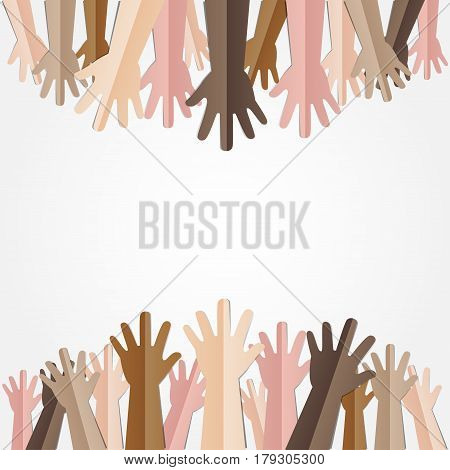 Raised hands up together with different skin tone of many peoples concept of democrazy volunteer or racial concept design by vector illustrator