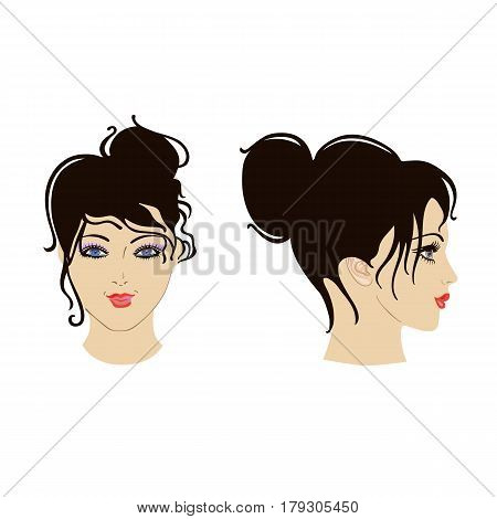 Front side view of woman's face isolated on white background. Vector illustration