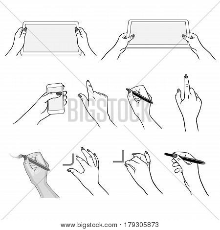 Holding hands with media player tablet device (vector graphics) stylus pen drawing using application