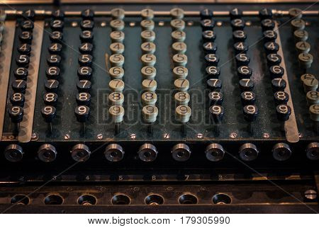 The Fragment Of Old And Vintage Adding Machine