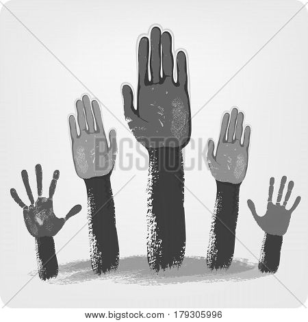 Voting grey hands isolated on background vector illustration