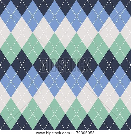 Argyle seamless pattern background. Traditional colors. For print and web. Vector EPS10.