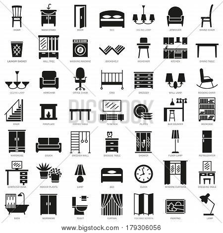 Room modern interior indoor furniture silhouette icons set illustration