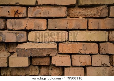 Old Red And Damaged Bricks