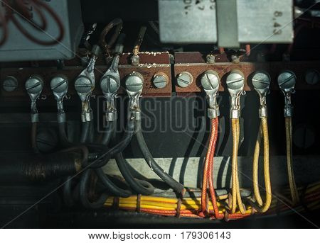 The Old Power Cables With Eyelet Terminal